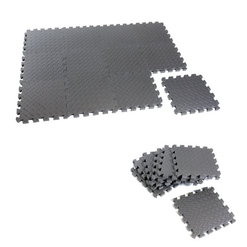 Cap Barbell Equipment Mat Anti-microbial 12-Piece Puzzle Mat (12 X 12 X 1.5-Inch) (Bench Floor)