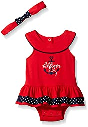 Tommy Hilfiger Baby Girls\' Combed Interlock Sunsuit with Printed Ribbon and Headband, Red, 0-3 Months