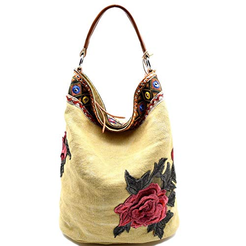 Flower and Ethnic Embroidery Linen Hobo Bag Purse