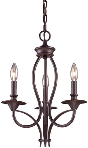Elk 61031-3 Medford 3-Light Chandelier, 19-Inch, Oiled Bronze