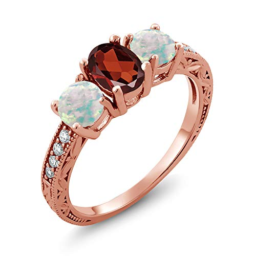 2.11 Ct Oval Red Garnet White Simulated Opal 18K Rose Gold Plated Silver Ring (Size 6)