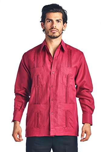 Mojito Collection (Mojito Collection Long Sleeve Poly-Cotton Guayabera (X-Large, Burgandy))