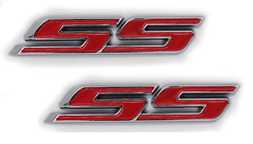 SS Super Sport Front Grill Red Chrome Emblem Badge Decal Pair ()