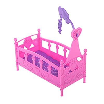 Fmingdou Rocking Cradle Bed Doll House Toy Furniture for Kelly Barbie Doll Accessories Girls Toy Gift: Toys & Games