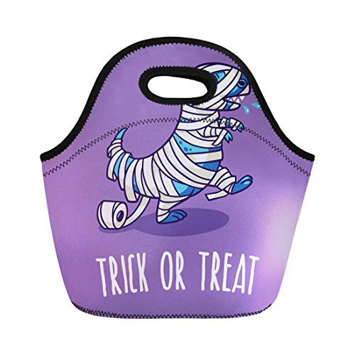 Semtomn Neoprene Lunch Tote Bag Autumn Trick Treat Halloween Dinosaur in Mummy Costume Baby Reusable Cooler Bags Insulated Thermal Picnic Handbag for -