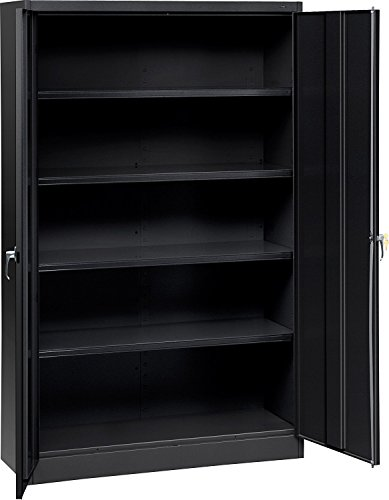 Tennsco J2478SUBK Assembled Jumbo Steel Storage Cabinet, 48w x 24d x 78h, Black