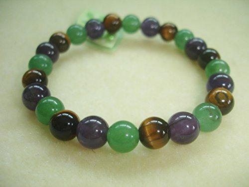 Cristal Quartz Aventurine Amethyst Tiger Eye Prosperity Abundance Attracts Money Bracelet V3 ()