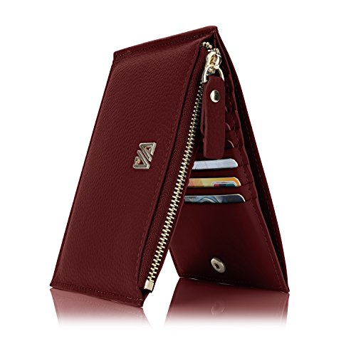 Qyoubi Women's Genuine Leather RFID Blocking Zip Wallet Credit Card Organizer Clutch Purse (Wine Red)