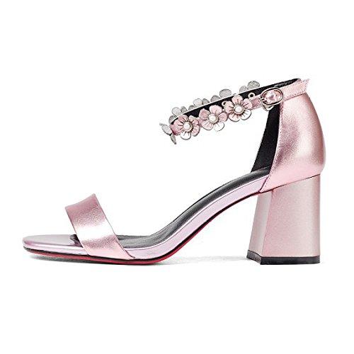 Cuero Y De Yxlong Con Americana Mujer Sandalias Moda Verano Pink Alto Nuevo Correa Tacón Tobillo Europea Grueso Zapatos qSt5Ywt