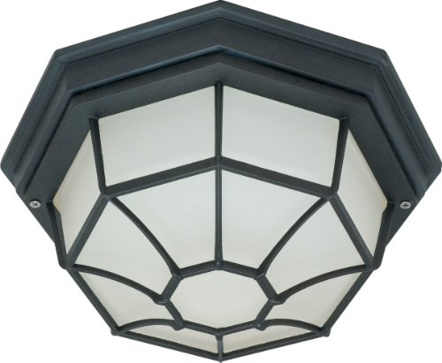 Nuvo Lighting 60/580 Energy Efficient 1 Light Die Cast Ceiling Spider Cage With Glass Lens Energy Star, Textured Black