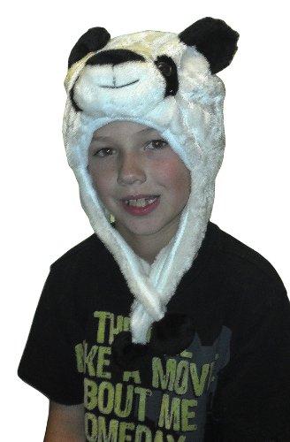 Panda Hat for Kids Soft Fabric Plush Animal Character Cap Halloween Headdress Costume Boys Girls Sun Head Cover Christmas Birthday Gift Ideas -