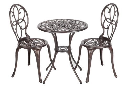 Patio Sense 3-Piece Antique Bronze Cast Aluminum Bistro Set - Antique Patio Set