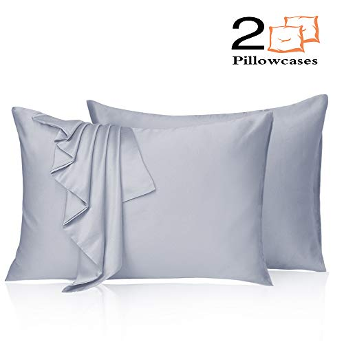 Leccod 2 Pack Silky Satin Pillowcase for Hair and Skin Cool Super Soft and Luxury Pillow Cases Covers with Envelope Closure (Baby Blue, Standard: 20x26)