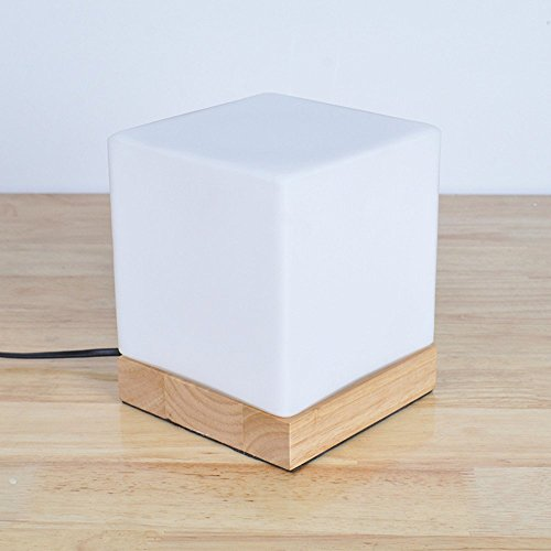 BOKT Minimalist Solid Wood Table Lamp Bedside Desk Lamp Home Decor Milky White Mini Square Glass Box