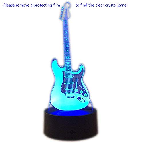 Electric Guitar Decorations (Unitake 3D Night Light Electric Guitar Modern 3D Illusion LED 7 Color Changing USB Touch Sensor Table Lamp for Children)