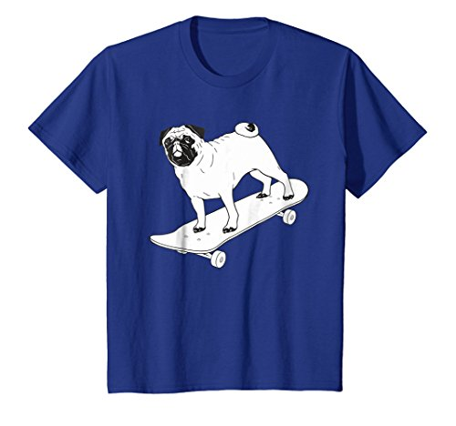 Kids Skateboard Pug Puppy Dog Skateboarding T shirt 6 Royal Blue