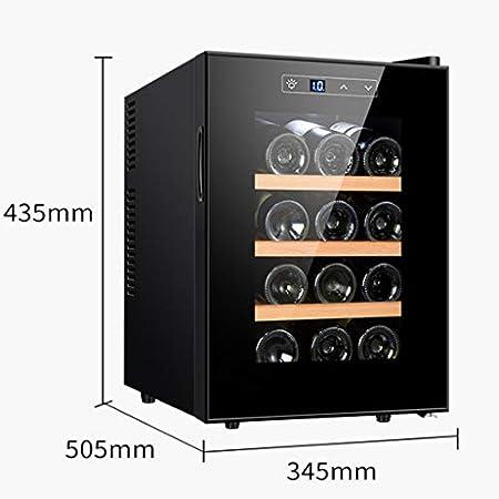 XJBHRB Frigorífico para vinos, frigorífico para vinos, refrigerador, Almacenamiento de 12 Botellas, Pantalla táctil, Puerta de Vidrio, Ajuste de 11-18 Grados, Compacto, Negro