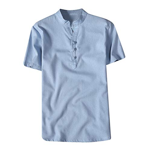 Willow S Fashion Mens T-Shirt Short Sleeve Solid Color Standing Collar Button Casual Linen and Cotton Blouse Tops Blue