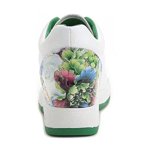 ohne Markenname Bequeme Damen Low-Top Sportschuhe Schnüren Sneakers Freizeitschuhe Grün