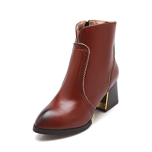 BalaMasa Womens Lace Ornament Electroplate Heel Zipper Imitated Leather Boots Brown zzIlR8o