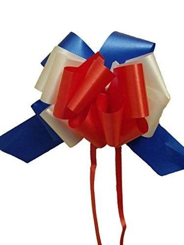 Set of 10 Red, White, and Blue Pull Bows - 5