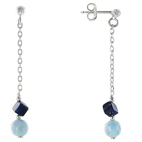 Les Poulettes Bijoux - Boucles d'Oreilles Argent Chainette Perle de Larimar et Cube de Lapis Lazuli