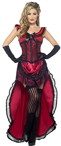 [Smiffy's Women's Western Authentic Brothel Babe Costume, Dress and Corset, Western, Serious Fun, Size 10-12, 45233] (Saloon Dress)