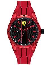 ساعة بسوار سيليكون احمر ومينا اسود للرجال من فيراري - 830494
