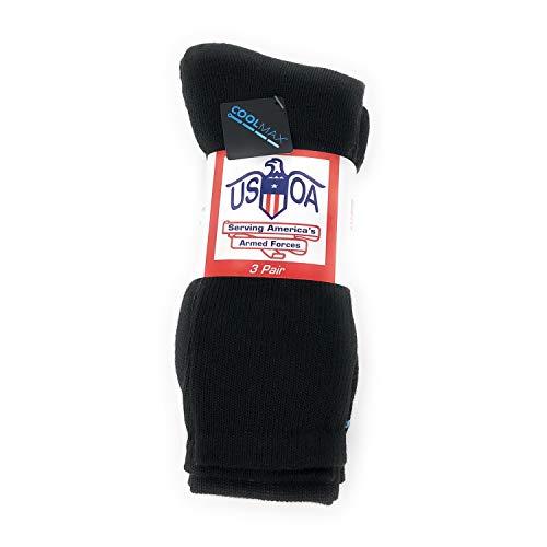 USOA Coolmax Antimicrobial Boot Socks Black 3-Pair, -