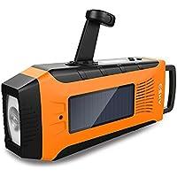 Emergency Radios, Esky Hand Crank Radio Weather Radios Solar Self Powered AM/ FM/ NOAA Radio with 2000mAh Rechargeable Battery, 3W Flashlight and Loudly Alarm (Orange)