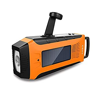 Esky ES-CR03 Emergency AM/ FM/ NOAA Radio | Hand Crank Solar Radio and Powerbank with 2000mAh Rechargeable Battery,3W Flashlight(Orange)