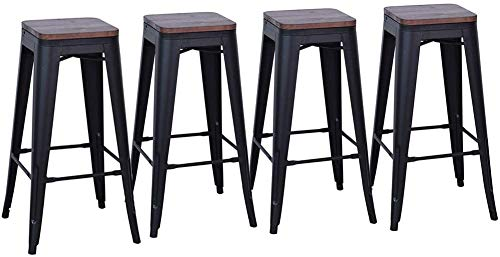 DeKea 24 Inch Backless Bar Stools with Wooden Top Counter Height Metal Stool Set of 4 for Kitchen Barstools, Matte Black