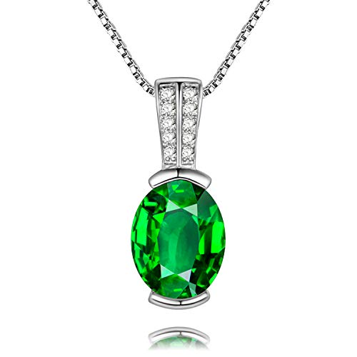 Birthstone Pendant Green May (Uloveido Women Pretty Created Green Emerald Oval Pendant Necklace, White Gold Plated 925 Sterling Silver May Birthstone Rings (Platinum, Green Stone) LN004)
