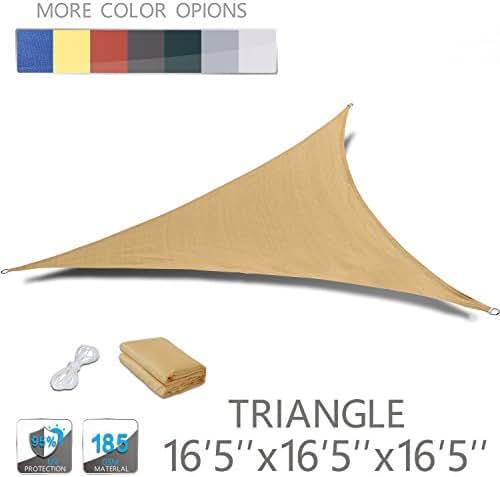 LOVE STORY 16'5'' x 16'5'' x 16'5'' Triangle Sand UV Block Sun Shade Sail Perfect for Outdoor Patio Garden