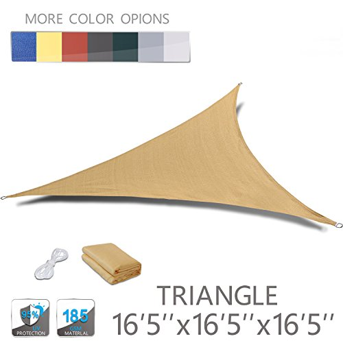 Love Story 16'5'' x 16'5'' x 16'5'' Triangle Sand UV Block Sun Shade Sail Perfect for Outdoor Patio Garden