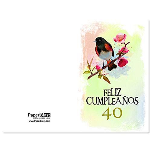 Amazon.com: Bird Feliz Cumpleanos 40th Birthday Card in ...