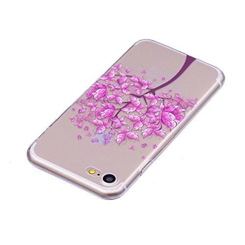 Coque iPhone 7 / iPhone 8 Arbre papillon Premium Gel TPU Souple Silicone Transparent Clair Bumper Protection Housse Arrière Étui Pour Apple iPhone 7 / iPhone 8 Avec Deux cadeau