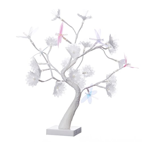 Finether Table Lamp Adjustable Dragonfly and Flower Desk Lamp |1.47 ft Tree Light for Wedding Living Room Bedroom Party Home Decor with 24 Warm White LED Lights|Two Mode: USB/Battery Powered