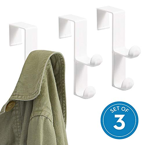 (iDesign Over the Over the Door Plastic Dual Hook Hanger for Coats, Jackets, Hats, Robes, Towels, Ideal for Bathroom, Bedroom, Mudroom, Set of 3, White)