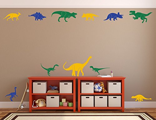 Colorful Dinosaur Wall Decals for Boys Room, Kids Playroom - Baby Nursery Wall Art - Children's Wall (Toddler Halloween Ideas)