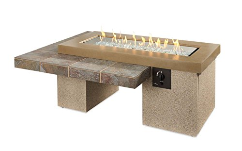 Outdoor Great Room Uptown Crystal Fire Pit Table with Tile Top and Rectangular Burner, Brown