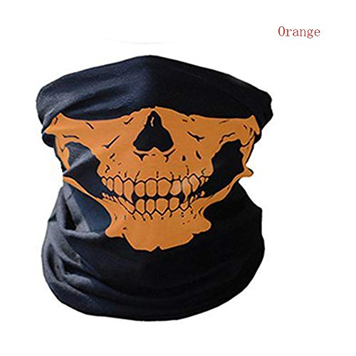 Riaxa - Halloween Mask Festival Skull Masks Skeleton Outdoor Motorcycle Bicycle Multi Function Neck Warmer Ghost Half Face Mask Scarves [ Orange ] -