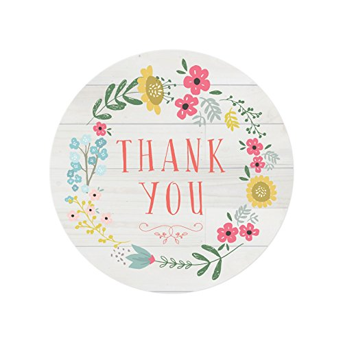 Andaz Press Stylish Bulk Thank You Round Circle Label Stickers, 2-inch, Olivia Floral Flowers Wreath on Light Rustic Wood, ()