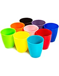 Youngever 8 Ounce Kids Cups, 9 Pack Kids Plastic Cups In 9 Assorted Colors, 8 Ounce Kids Drinking Cups, Toddler Cups, Cups for Kids Toddlers, Unbreakable Toddler Cups
