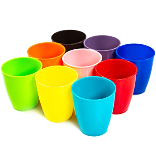 Color Plastic Cups (Youngever 8 Ounce Kids Cups, 9 Pack Kids Plastic Cups, 8 Ounce Kids Drinking Cups, Toddler Cups, Microwave Safe, Dishwasher Safe, Cups for Kids Toddlers, Unbreakable Toddler)