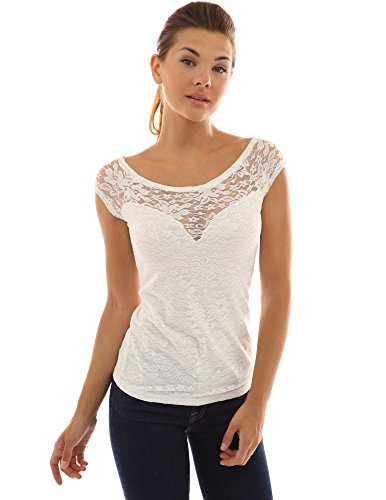 Ivory Sweetheart Neck (PattyBoutik Women's Boat Neck Floral Lace Top (Ivory S))