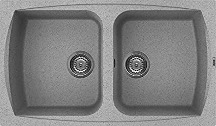 ELLECI Lavello cucina Living 450 86x50 2 vasche Grigio Pietra 55