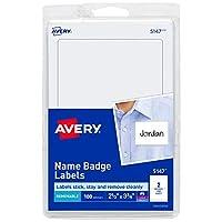 "Etiquetas de nombre personalizadas de Avery, impresas o escritas, 2-1 /3 ""x 3-3 /8"", 100 etiquetas de nombre adhesivas, (5147)"