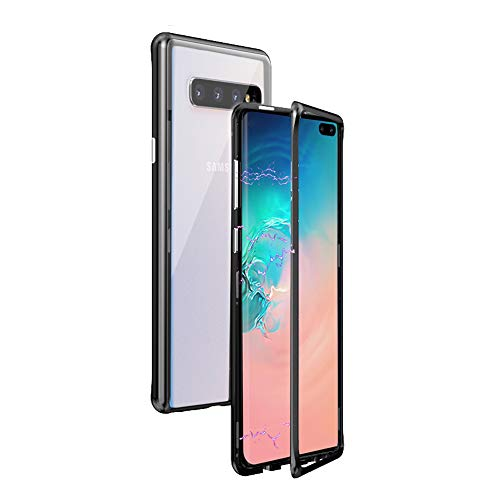Omio for Galaxy S10 Plus Magnetic Adsorption Case Luxury Metal Tempered Glass Back Cover for Galaxy S10 Plus Case 360 Protection Shock Absorption Anti-Scratch Bumper Protective Case for Galaxy S10+