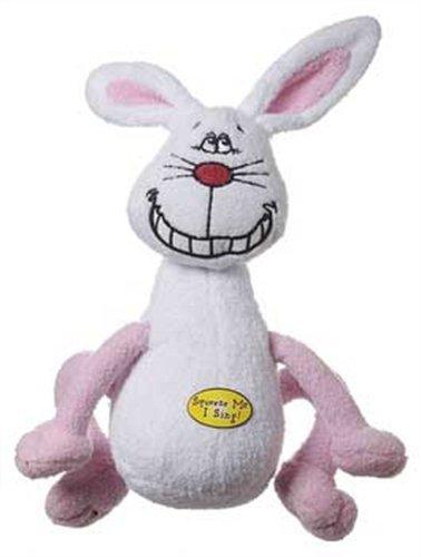 Multipet Deedle Dude Singing White Rabbit Plush Dog Toy, 8-Inch
